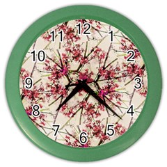 Red Deco Geometric Nature Collage Floral Motif Wall Clock (Color)