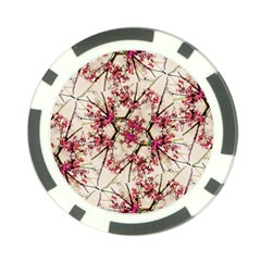 Red Deco Geometric Nature Collage Floral Motif Poker Chip