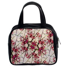 Red Deco Geometric Nature Collage Floral Motif Classic Handbag (two Sides)