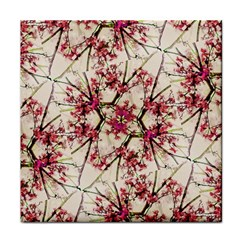 Red Deco Geometric Nature Collage Floral Motif Face Towel