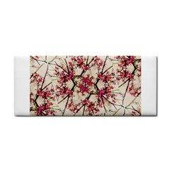 Red Deco Geometric Nature Collage Floral Motif Hand Towel
