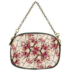 Red Deco Geometric Nature Collage Floral Motif Chain Purse (one Side)