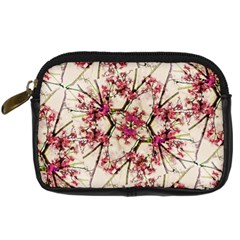 Red Deco Geometric Nature Collage Floral Motif Digital Camera Leather Case