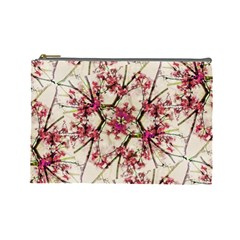 Red Deco Geometric Nature Collage Floral Motif Cosmetic Bag (large)