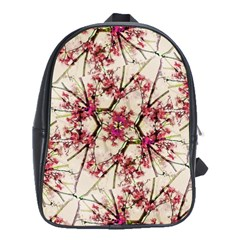 Red Deco Geometric Nature Collage Floral Motif School Bag (large)