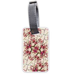 Red Deco Geometric Nature Collage Floral Motif Luggage Tag (One Side)