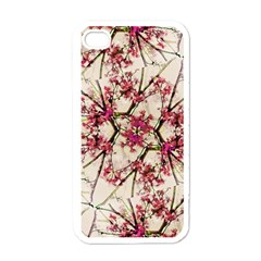 Red Deco Geometric Nature Collage Floral Motif Apple Iphone 4 Case (white)