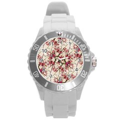 Red Deco Geometric Nature Collage Floral Motif Plastic Sport Watch (large)