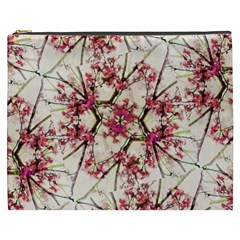 Red Deco Geometric Nature Collage Floral Motif Cosmetic Bag (XXXL)