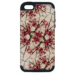 Red Deco Geometric Nature Collage Floral Motif Apple Iphone 5 Hardshell Case (pc+silicone)