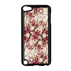 Red Deco Geometric Nature Collage Floral Motif Apple iPod Touch 5 Case (Black)