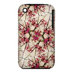 Red Deco Geometric Nature Collage Floral Motif Apple iPhone 3G/3GS Hardshell Case (PC+Silicone)
