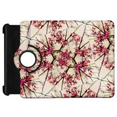 Red Deco Geometric Nature Collage Floral Motif Kindle Fire Hd 7  (1st Gen) Flip 360 Case