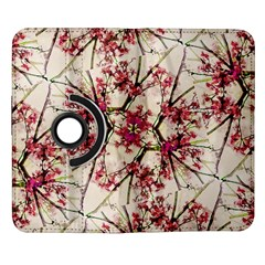 Red Deco Geometric Nature Collage Floral Motif Samsung Galaxy Note II Flip 360 Case