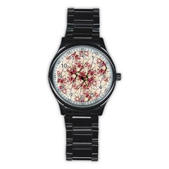 Red Deco Geometric Nature Collage Floral Motif Sport Metal Watch (Black)