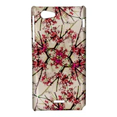 Red Deco Geometric Nature Collage Floral Motif Sony Xperia J Hardshell Case