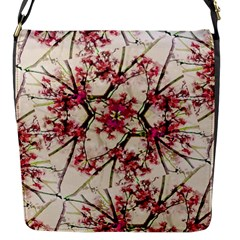 Red Deco Geometric Nature Collage Floral Motif Flap Closure Messenger Bag (Small)