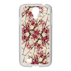 Red Deco Geometric Nature Collage Floral Motif Samsung GALAXY S4 I9500/ I9505 Case (White)