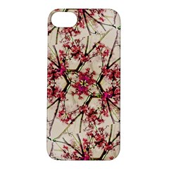 Red Deco Geometric Nature Collage Floral Motif Apple iPhone 5S Hardshell Case