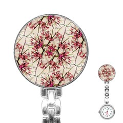 Red Deco Geometric Nature Collage Floral Motif Stainless Steel Nurses Watch
