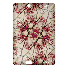 Red Deco Geometric Nature Collage Floral Motif Kindle Fire HD 7  (2nd Gen) Hardshell Case