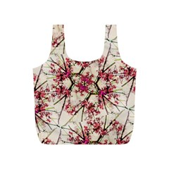 Red Deco Geometric Nature Collage Floral Motif Reusable Bag (S)