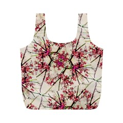 Red Deco Geometric Nature Collage Floral Motif Reusable Bag (M)