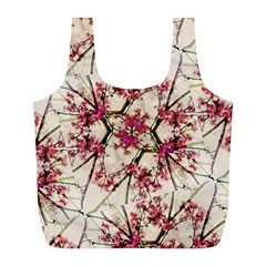 Red Deco Geometric Nature Collage Floral Motif Reusable Bag (l)