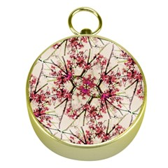 Red Deco Geometric Nature Collage Floral Motif Gold Compass