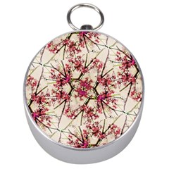 Red Deco Geometric Nature Collage Floral Motif Silver Compass