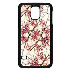 Red Deco Geometric Nature Collage Floral Motif Samsung Galaxy S5 Case (black)