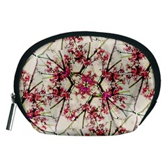 Red Deco Geometric Nature Collage Floral Motif Accessory Pouch (Medium)