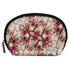 Red Deco Geometric Nature Collage Floral Motif Accessory Pouch (Large)
