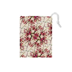 Red Deco Geometric Nature Collage Floral Motif Drawstring Pouch (Small)