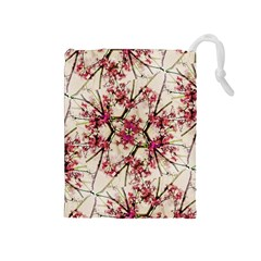 Red Deco Geometric Nature Collage Floral Motif Drawstring Pouch (medium)