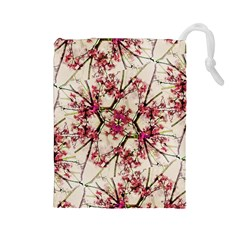 Red Deco Geometric Nature Collage Floral Motif Drawstring Pouch (large)