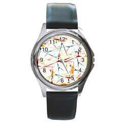 Colorful Splatter Abstract Shapes Round Leather Watch (silver Rim)