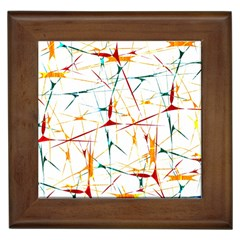 Colorful Splatter Abstract Shapes Framed Ceramic Tile