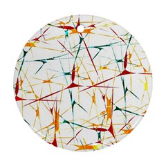 Colorful Splatter Abstract Shapes Round Ornament
