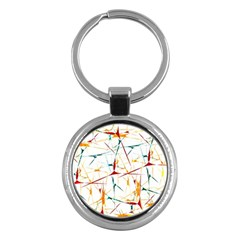 Colorful Splatter Abstract Shapes Key Chain (Round)