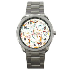 Colorful Splatter Abstract Shapes Sport Metal Watch