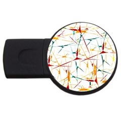 Colorful Splatter Abstract Shapes 4gb Usb Flash Drive (round)