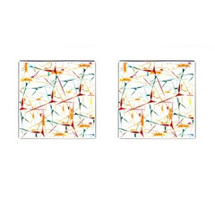 Colorful Splatter Abstract Shapes Cufflinks (square)