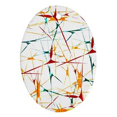 Colorful Splatter Abstract Shapes Oval Ornament (two Sides)