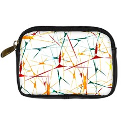 Colorful Splatter Abstract Shapes Digital Camera Leather Case