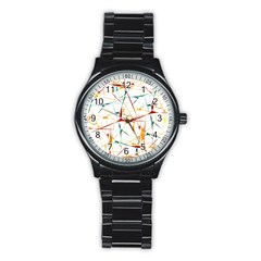 Colorful Splatter Abstract Shapes Sport Metal Watch (Black)