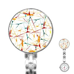 Colorful Splatter Abstract Shapes Stainless Steel Nurses Watch