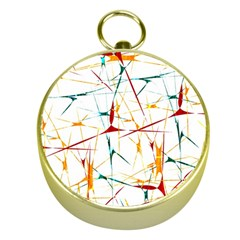 Colorful Splatter Abstract Shapes Gold Compass