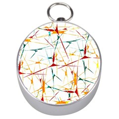 Colorful Splatter Abstract Shapes Silver Compass