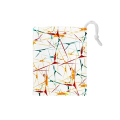 Colorful Splatter Abstract Shapes Drawstring Pouch (small)